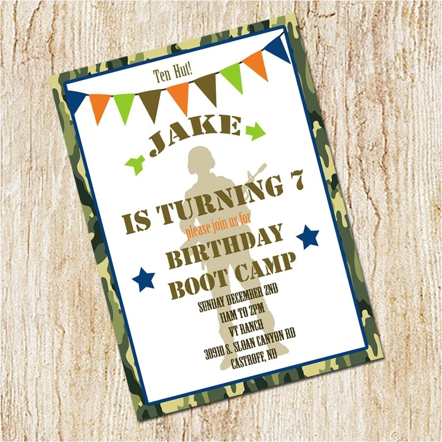 boot camp party invitation army birthday