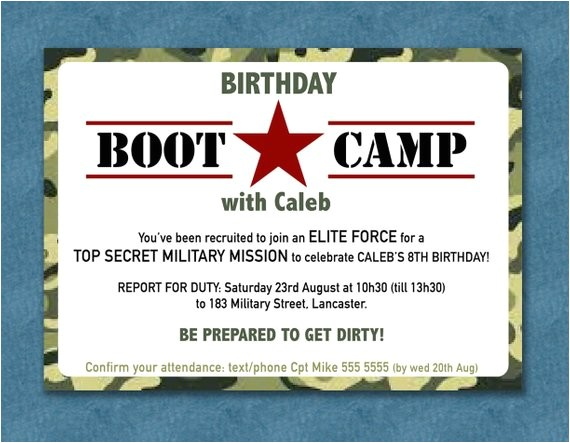 boot camp party invite boy