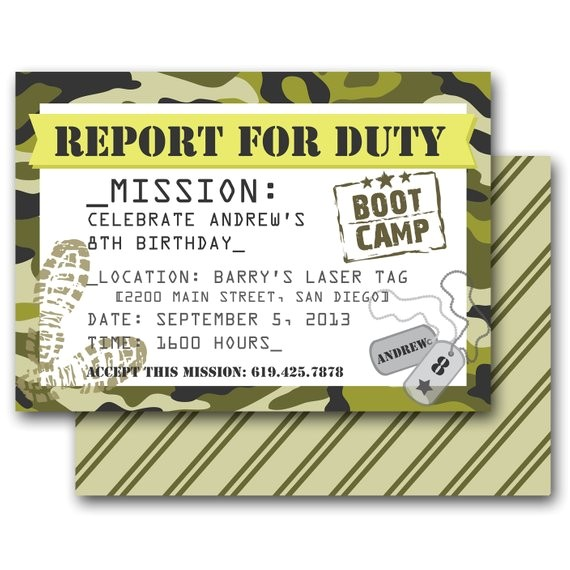 camo party invitation army boot camp