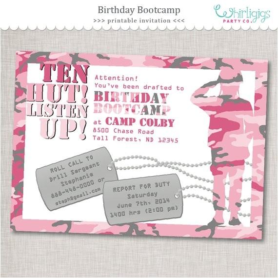 pink army invitation birthday bootcamp birthday