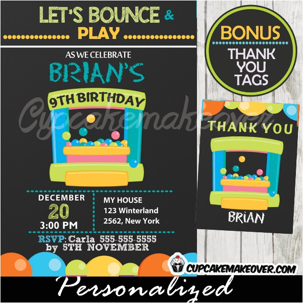 bounce house party invitation for boys personalized d6