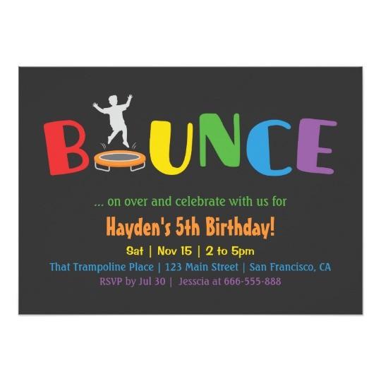bounce trampoline kids birthday party invitations 256097059599495909