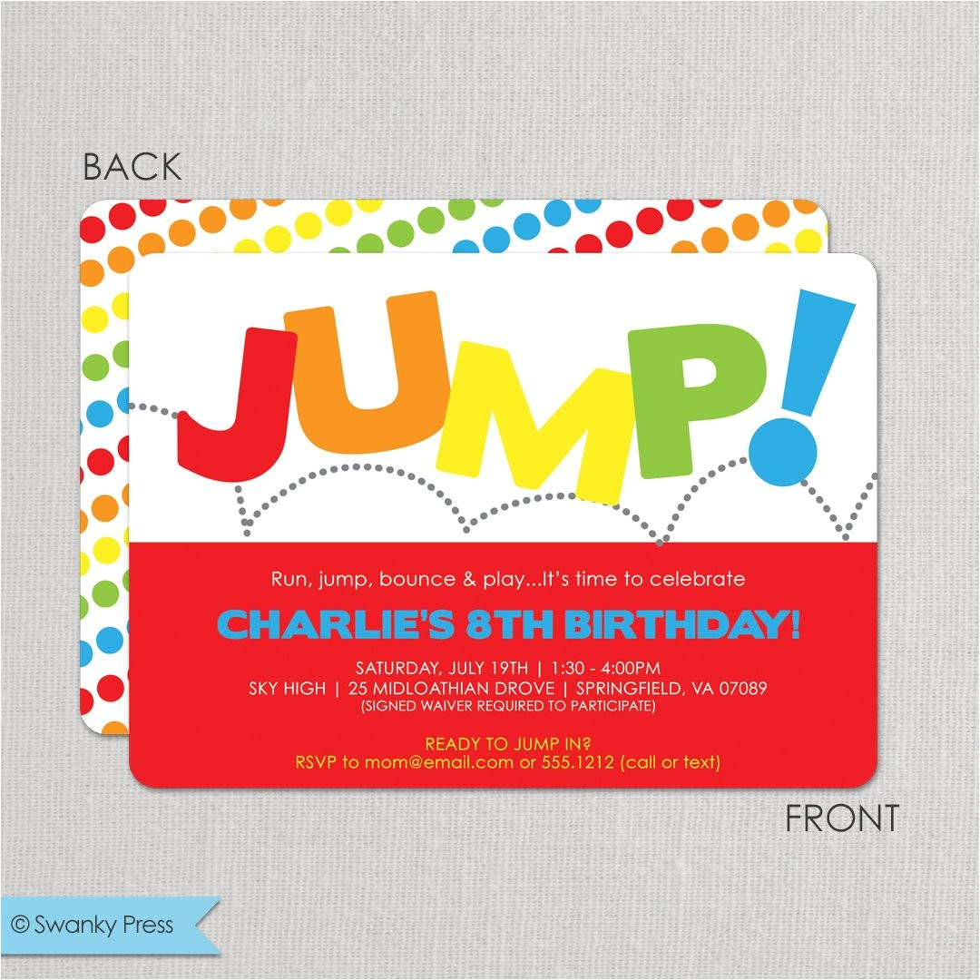 jump birthday invitation bounce