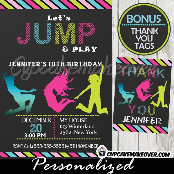 trampoline birthday party invitation personalized d7
