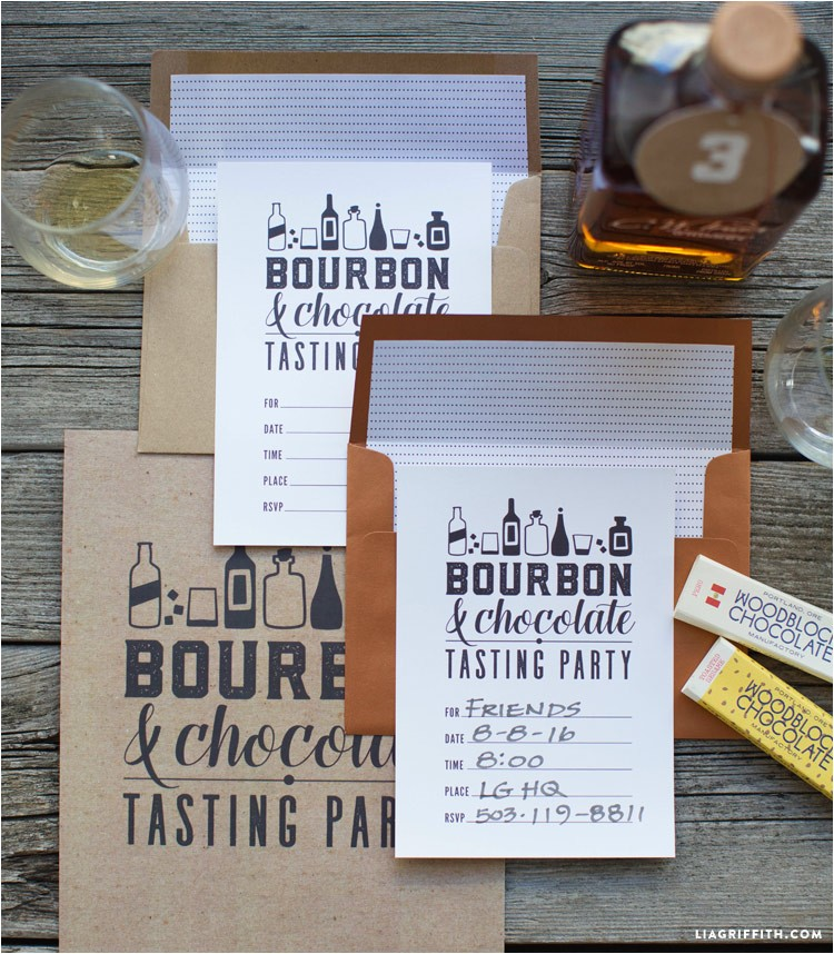 printable bourbon and chocolate party kit