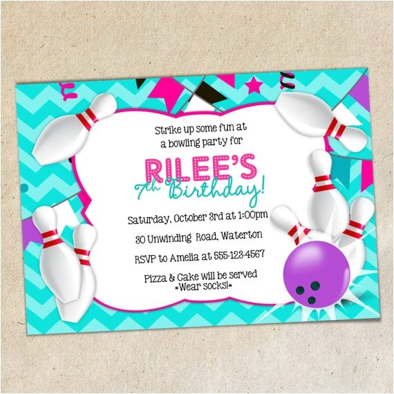 girls bowling party invitation template