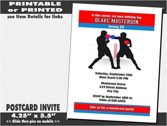 boxing birthday party invitations
