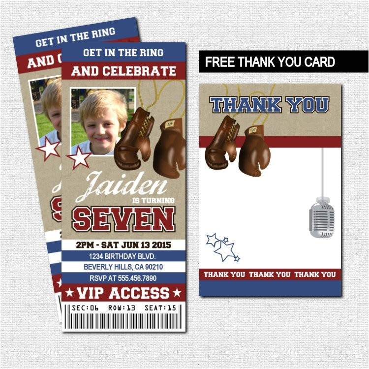 boxing ticket invitations birthday party