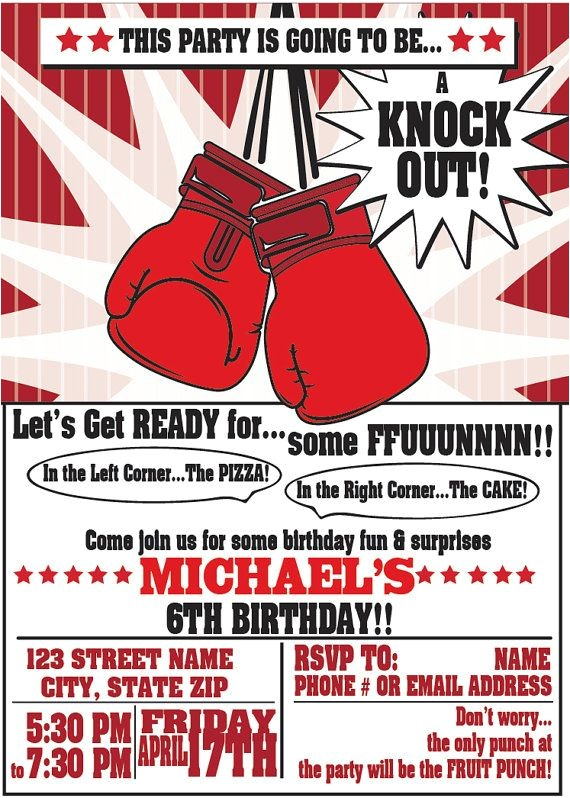 Boxing themed Party Invitations 148 Best Images About Boxing themed Party On Pinterest