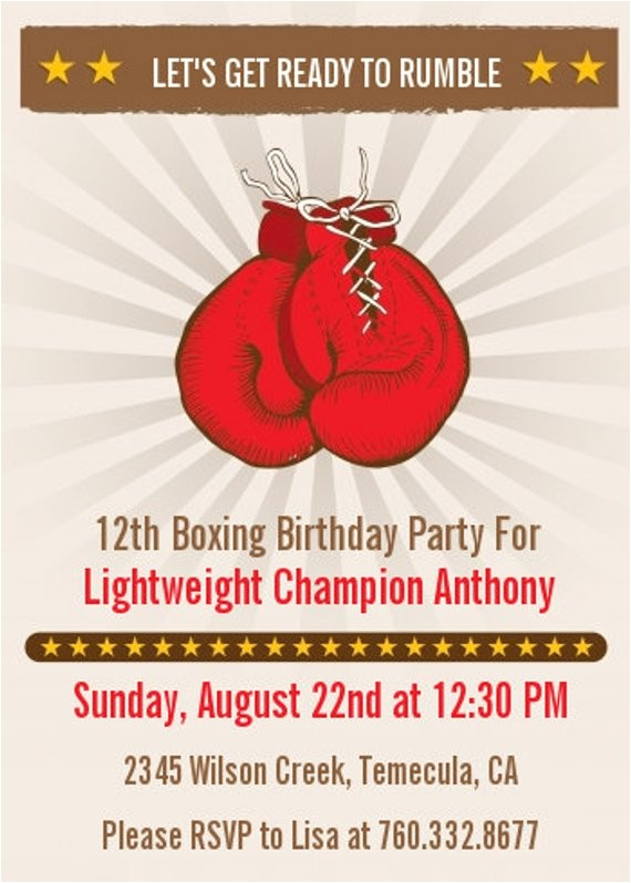 boxing gloves printable birthday party