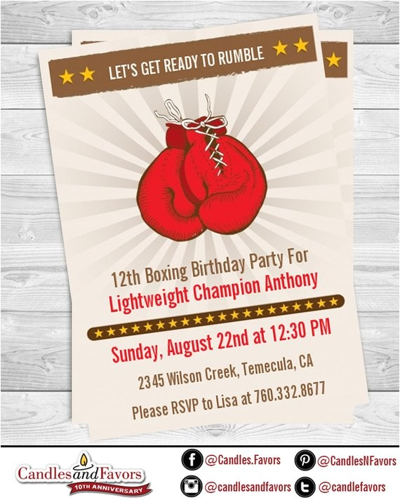 boxing gloves printable birthday party invitation