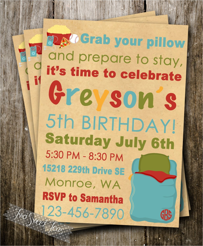 boy sleepover slumber party invitation