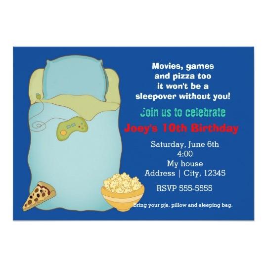 boys sleepover slumber party birthday invitation 161088865109450312