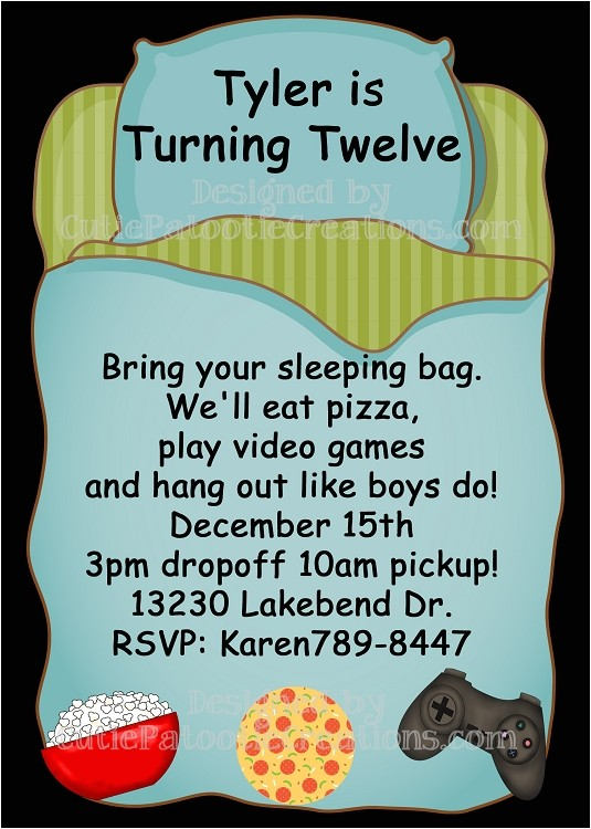 sleepover birthday party invitations for boys p 934