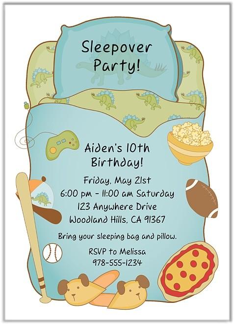 slumber party sleepover birthday invitations boy