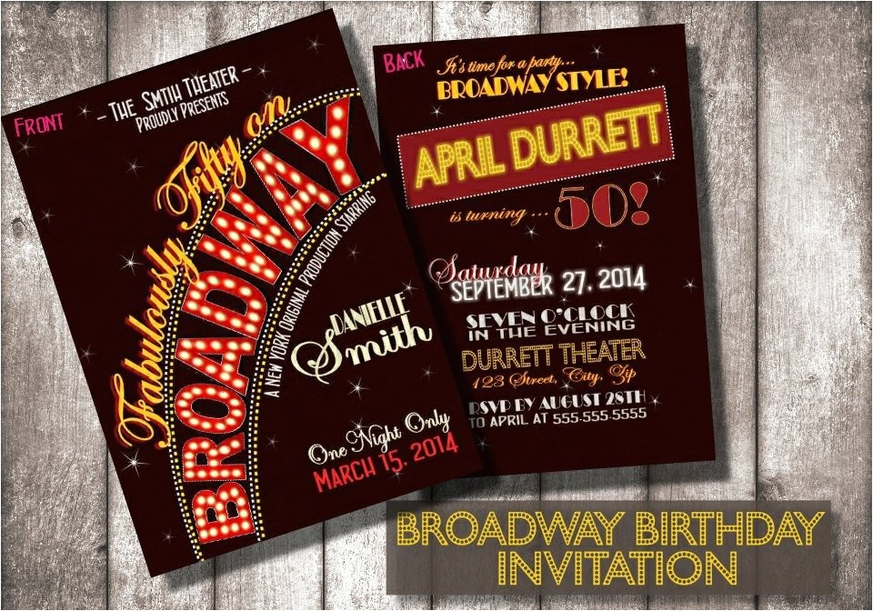 Broadway themed Party Invitations Broadway Birthday Invitationsdigital or Printed Option