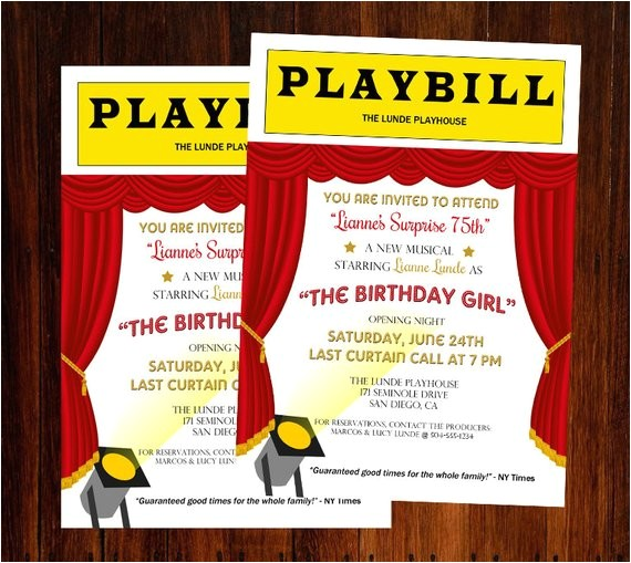 broadway invitation broadway birthday
