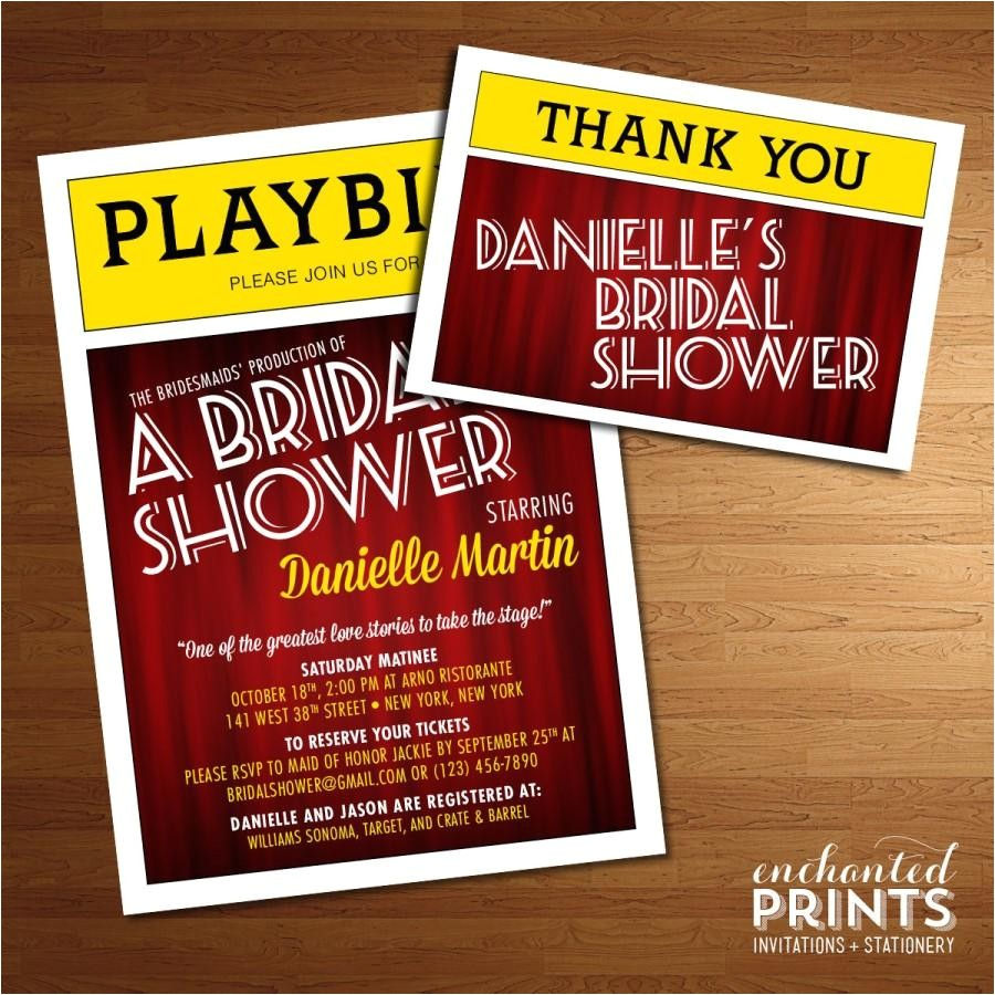 broadway playbill invitation theater themed nyc bridal shower printed invites or printable invitations