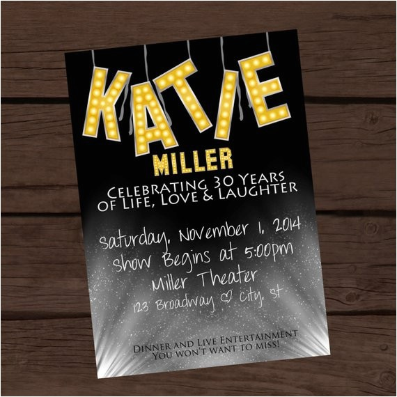 broadway inspired birthday invitation