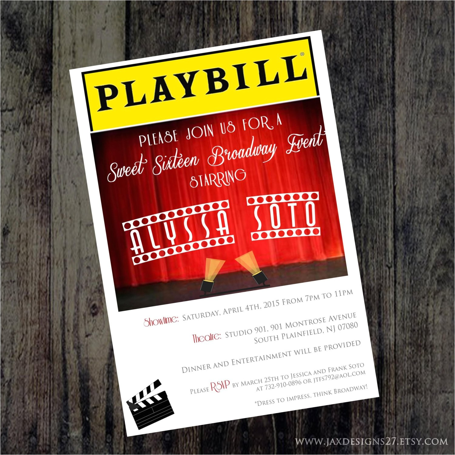playbill invitations broadway theme