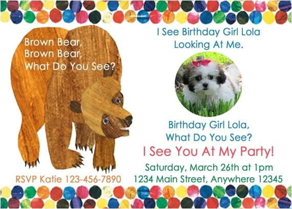 brown bear birthday party invitation