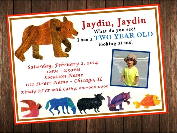brown bear brown bear birthday invitation
