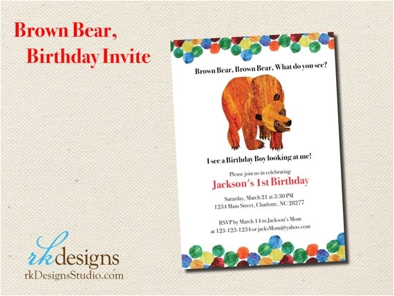 Brown Bear Brown Bear Birthday Party Invitations Brown Bear Eric Carle Birthday Invitation by Rkdesignsstudio