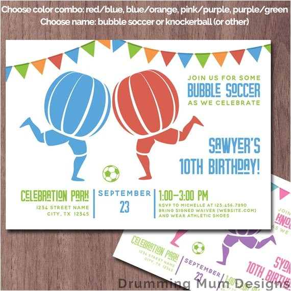 bubble soccer invitation birthday party