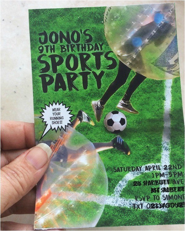 bubble soccer party invitations