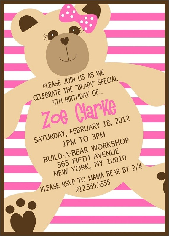 build a bear birthday barty invitations ideas