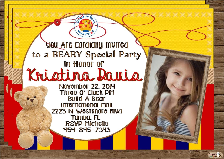 build a bear invitation invite bear