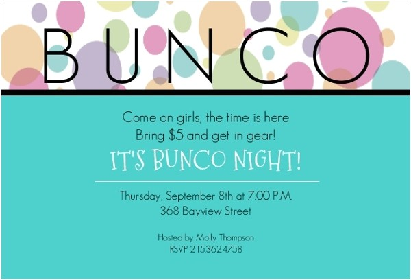 blue bunco night invitation