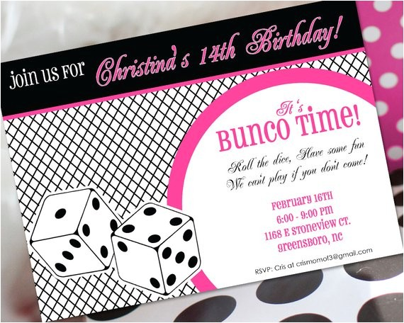 bunco birthday invitation bunco