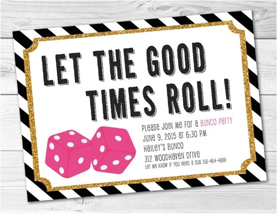 Bunco Party Invitations Bunco Game Night Party Invitation