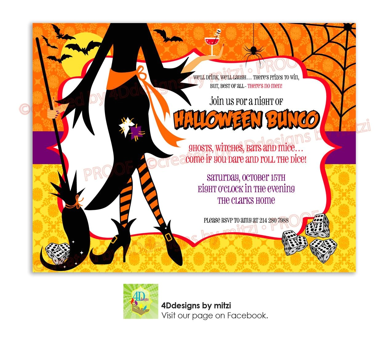 halloween bunco party invitation