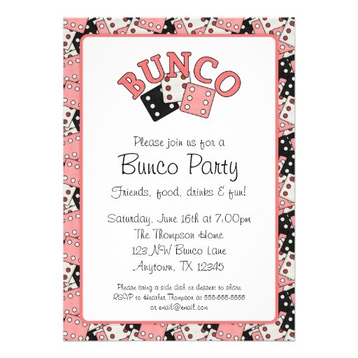 pink and black bunco party announcement 161697579685981301
