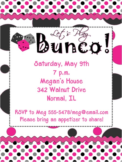 polka dots bunco night invitations