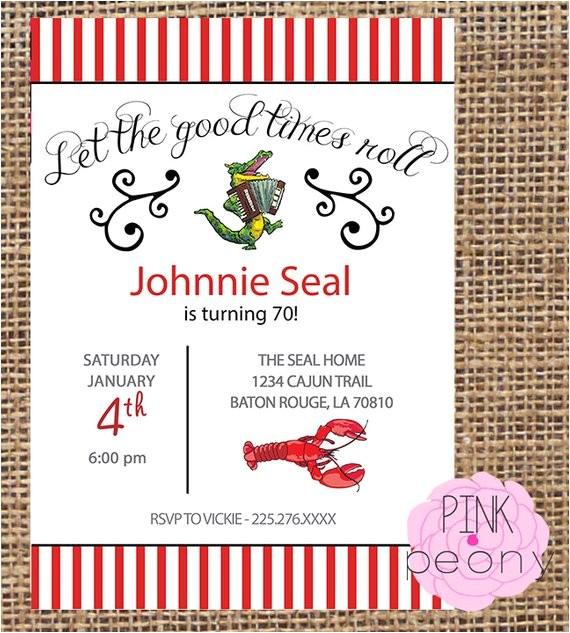 cajun themed birthday party invitation