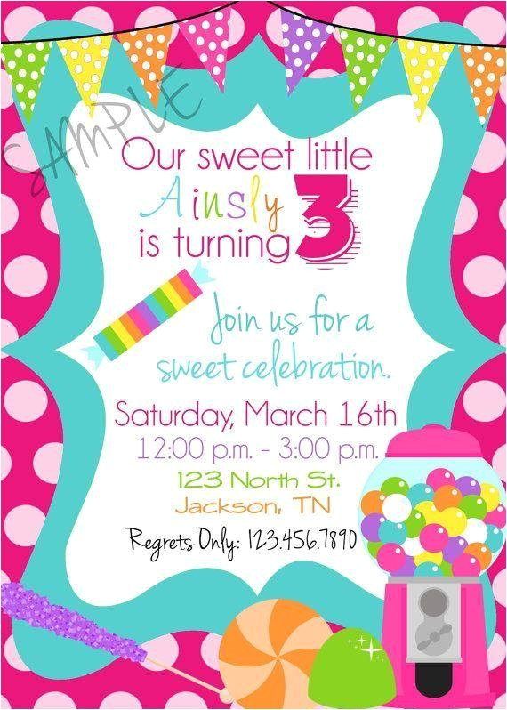 candy themed birthday invitations