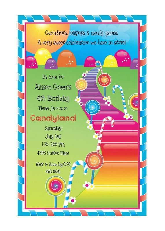 candyland theme party invitation candy