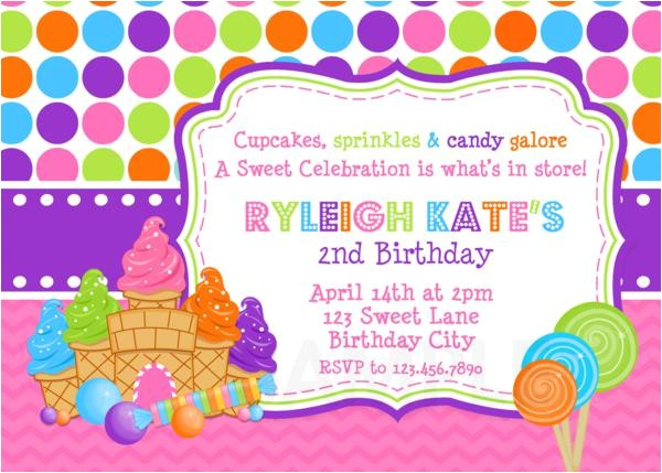 candy sweet shoppe birthday photo invitation en 2