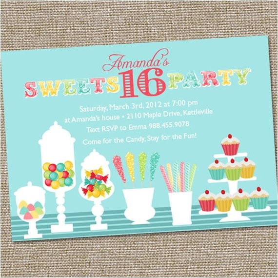 sweets 16 birthday party invitation