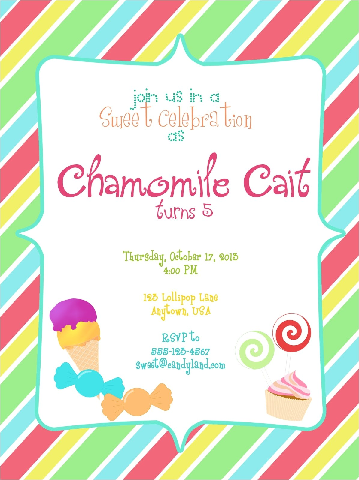 candyland party invitation