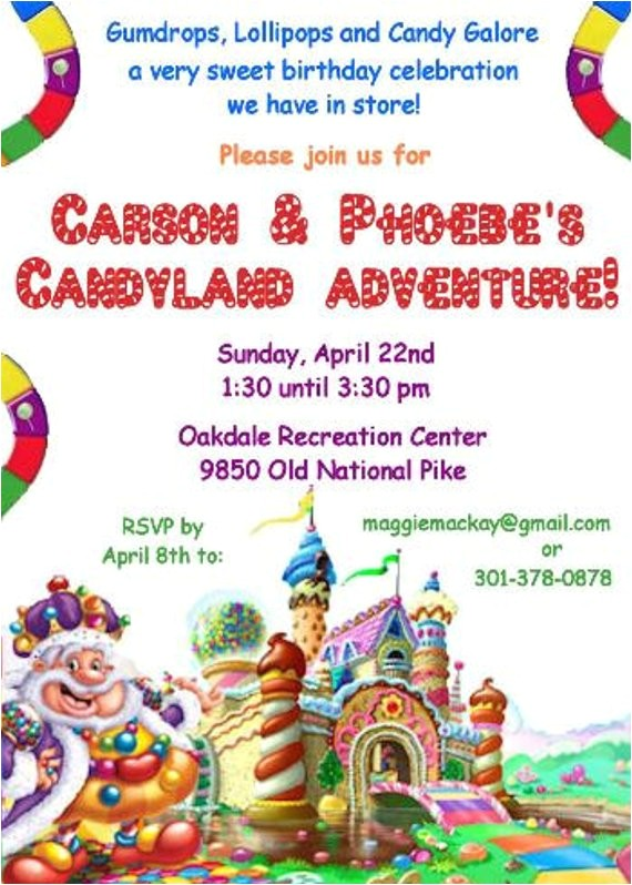 candyland birthday party invitation