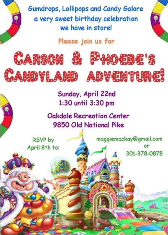 candyland birthday party invitation