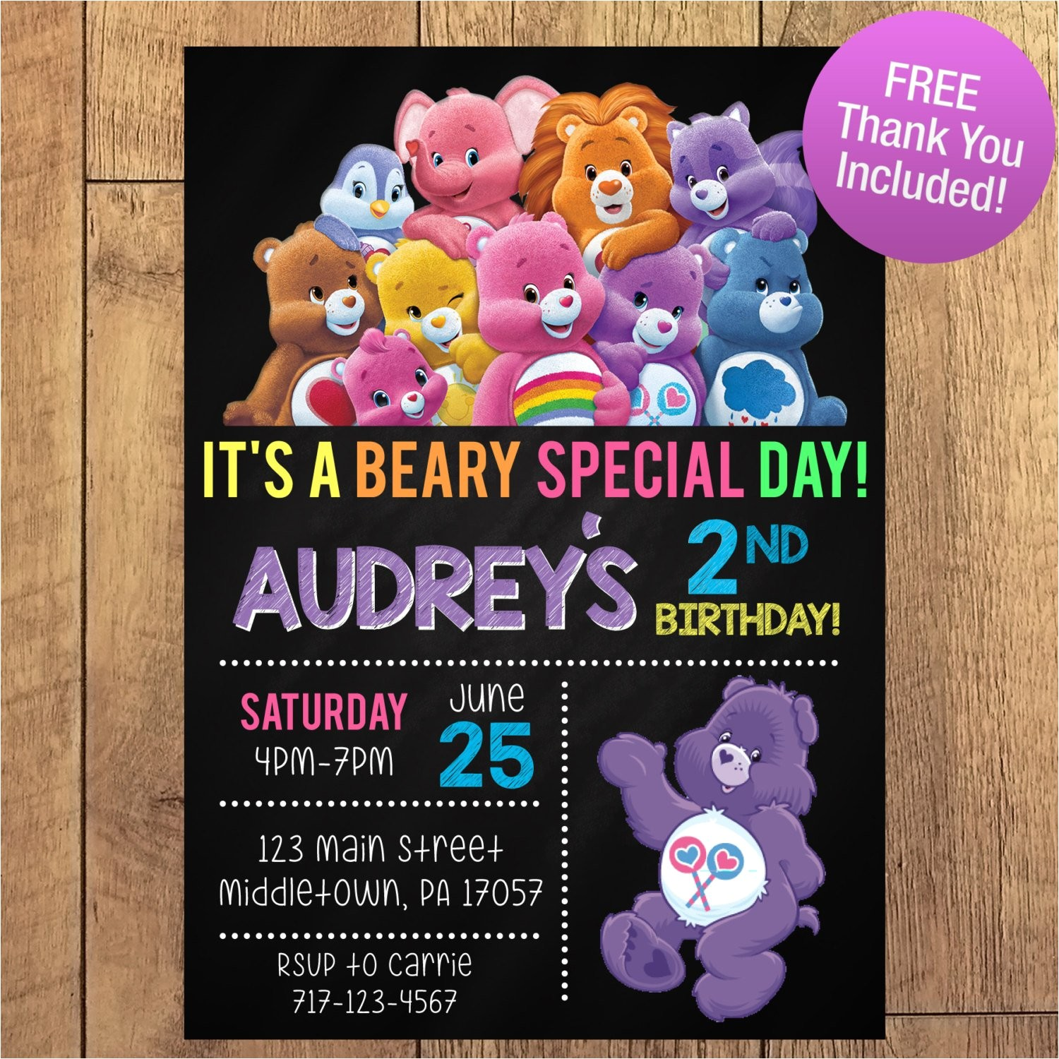 care bear birthday party invitation free