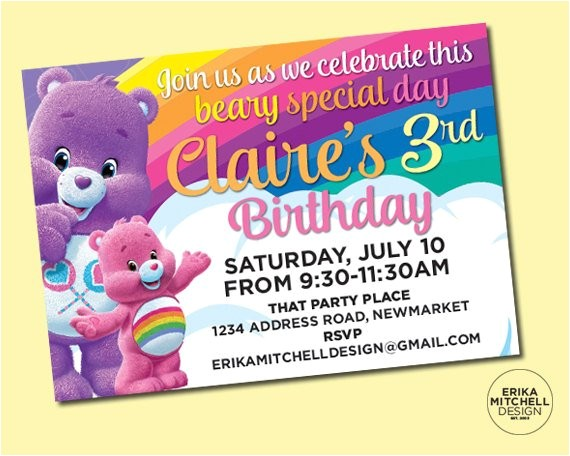 care bears birthday invite digital file