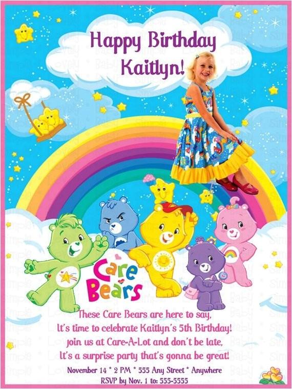 care bears photo birthday invitation