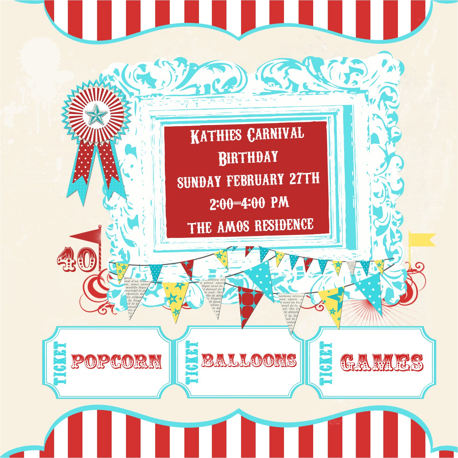 free printable carnival birthday party invitations for children