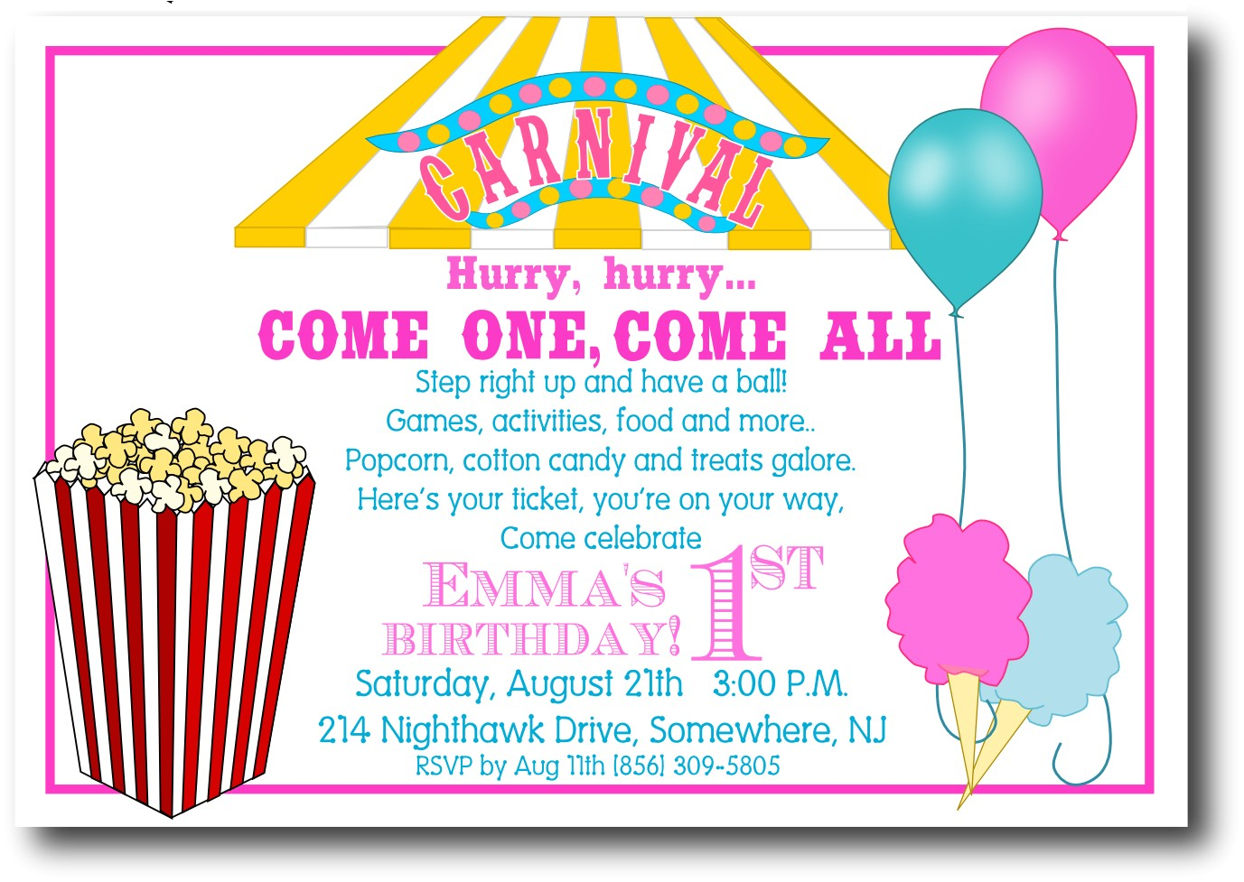 carnival birthday invitations wording